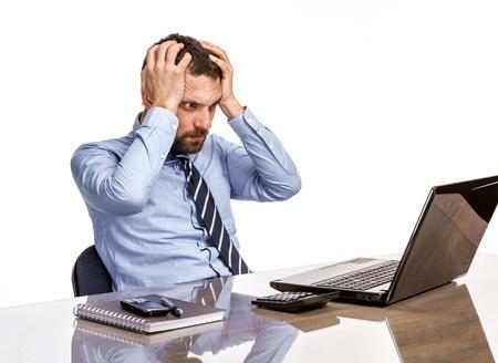 Photo pour Business man in office with burnout syndrome at desk - image libre de droit