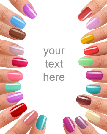 Photo pour Funky fingers nail polish - photography of beautiful female fingers with manicure - isolated on white background with space for your text - image libre de droit