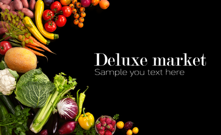 Photo for Deluxe market - studio photo of different fruits and vegetables on black backdrop - Royalty Free Image