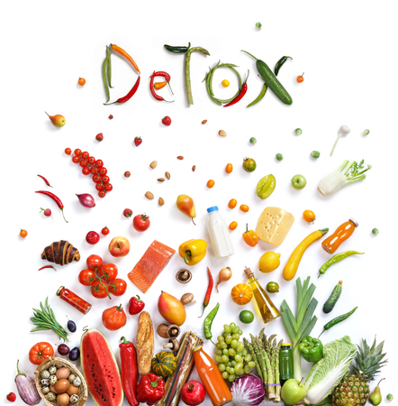 Photo pour Detox, food choice healthy food symbol represented by foods explosion to show the health concept of eating well with fruits and vegetables - image libre de droit