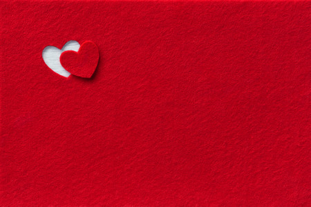 Photo for Felt Background for design to Valentine's Day. Decorative heart from red felt - Royalty Free Image