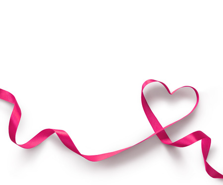 Foto de Pink Ribbon Heart on white background - Imagen libre de derechos