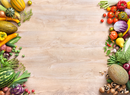 Photo for Healthy food background, studio photo of different fruits and vegetables on old wooden table - Royalty Free Image
