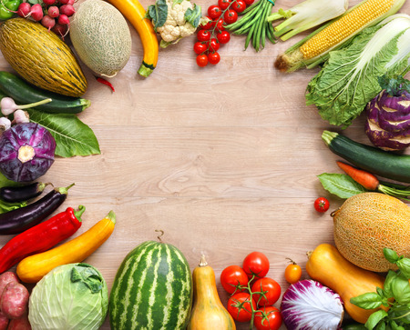 Photo for Healthy food on wooden table. Top view with copy space high-res product, studio photography of different vegetables on old wooden table. - Royalty Free Image