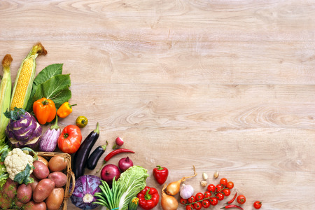 Photo for Healthy eating background. Top view with copy space, high-res product, studio photography of different vegetables on old wooden table. - Royalty Free Image