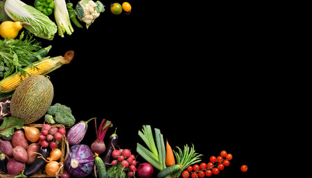 Photo for Deluxe Organic food background. Food photography different fruits and vegetables isolated black background. Copy space. High resolution product - Royalty Free Image