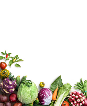 Photo for Organic food background. Food photography different fruits and vegetables isolated white background. Copy space. High resolution product - Royalty Free Image