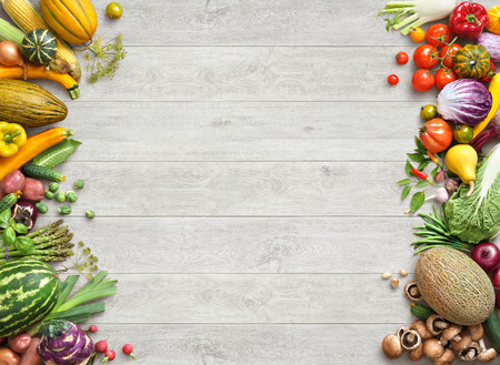 Photo pour Healthy eating background. Studio photo of different fruits and vegetables on white wooden table. High resolution product. - image libre de droit