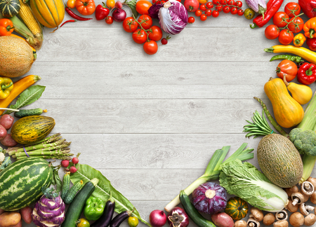Photo for Heart shaped food. Food photography of heart made from different fruits and vegetables on white wooden table. Copy space. High resolution product - Royalty Free Image