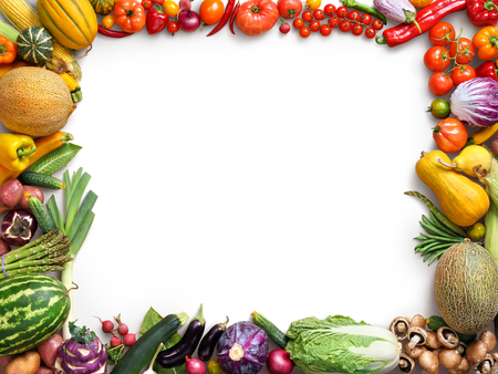 Photo pour Organic food background. Food photography different fruits and vegetables isolated white background. Copy space. High resolution product - image libre de droit
