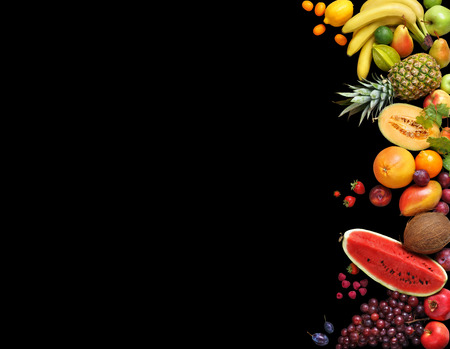 Photo pour Deluxe fruits background. Studio photography different fruits isolated on black background. Copy space. High resolution product - image libre de droit