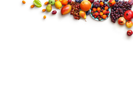 Photo for Healthy fruits background. Studio photo of different fruits isolated white background. High resolution product. Copy space - Royalty Free Image