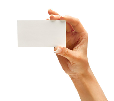 Photo for Woman's hand holding business card isolated on white background. Close up - Royalty Free Image