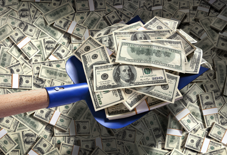 Photo for Money with shovel / studio photography of American moneys of hundred dollar - Royalty Free Image
