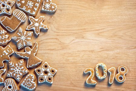 Photo for Christmas cookie on wooden background. Merry Christmas and Happy new year! Top view. High resolution product - Royalty Free Image