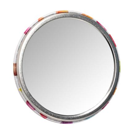 Photo pour Round mirror - isolated on white background - image libre de droit