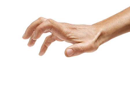 Photo pour Man's hand grabbing to something isolated on a white background. Close up. High resolution product - image libre de droit