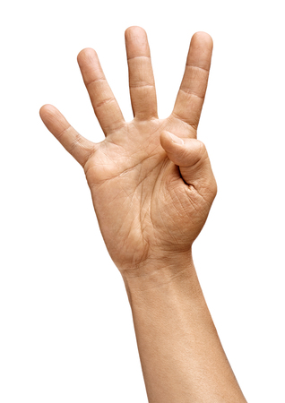 Photo pour Man's hand showing four fingers isolated on white background. Sign - number four. Close up. High resolution product - image libre de droit