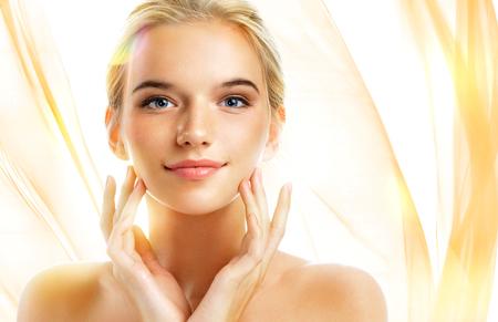 Foto de Charming young woman with perfect makeup. Skin care concept - Imagen libre de derechos