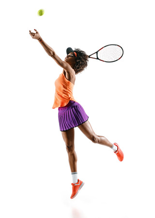 Foto de Young tennis girl in silhouette isolated on white background. Dynamic movement - Imagen libre de derechos