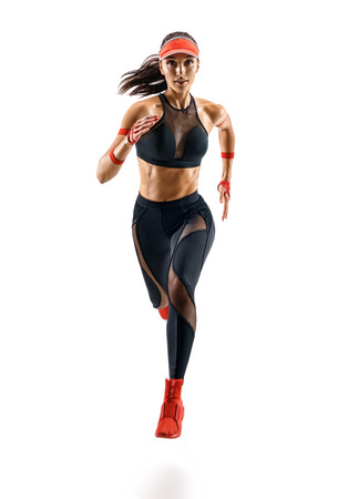 Photo pour Woman runner in silhouette isolated on white background. Dynamic movement. Sport and healthy lifestyle - image libre de droit
