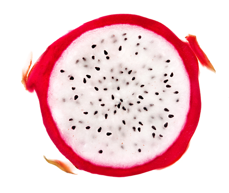 Photo pour Slice of dragon fruit isolated on white background. Close up. Top view. High resolution product - image libre de droit