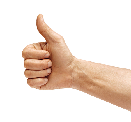 Foto de Man's hand showing thumb up - like sign, isolated on white background. Close up. Positive concept. High resolution product. - Imagen libre de derechos