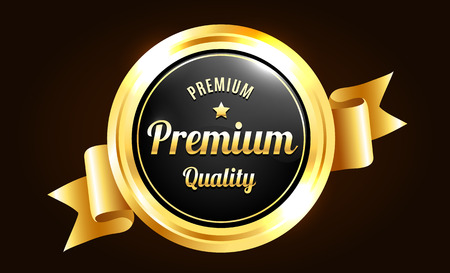 Illustration pour Golden Premium Quality Badge - image libre de droit