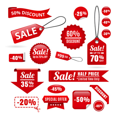 Illustration pour Red Sale Discount Tags, Badges And Ribbons - image libre de droit