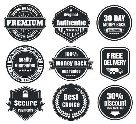 Illustration pour Dark Vintage Ecommerce Badges - image libre de droit