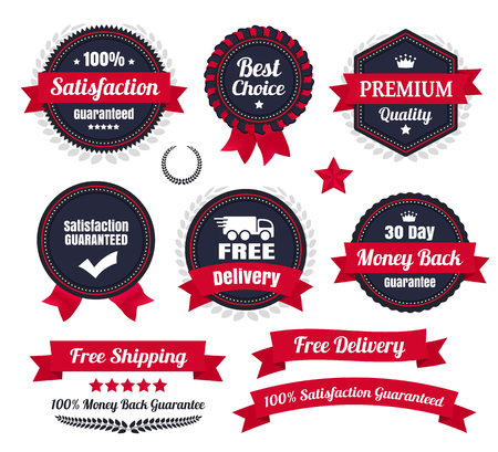 Illustration pour Classic Premium Quality Ecommerce Badges - image libre de droit