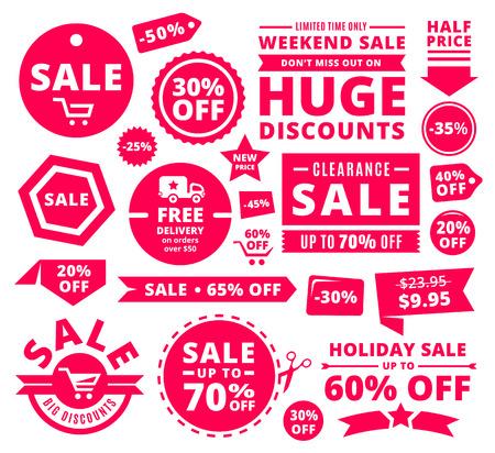 Illustration pour Modern Discount Sale Tags, Badges And Ribbons - image libre de droit