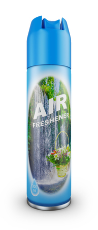 Photo for Air freshener in a blue bottle. 3d rendering. - Royalty Free Image