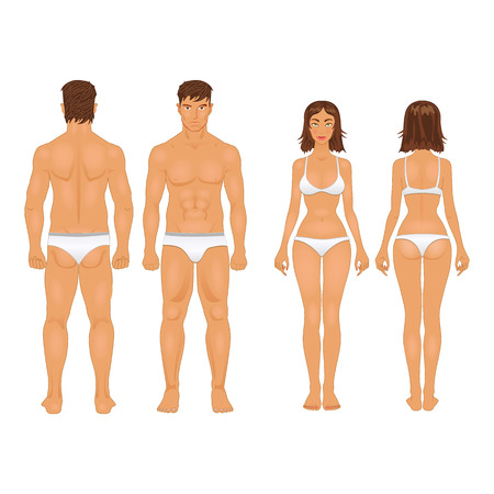 Ilustración de simple stylized illustration of a healthy body type of man and woman in retro colors - Imagen libre de derechos