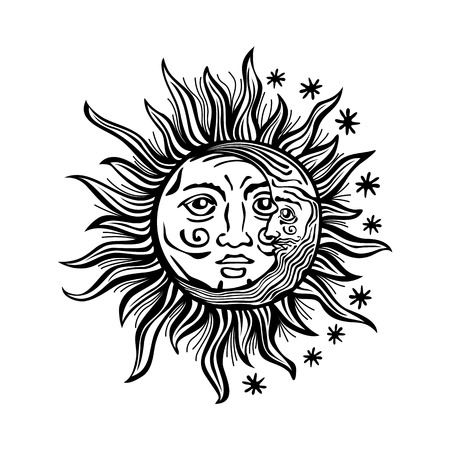 Ilustración de An etched-style cartoon illustration of a sun, moon, and star with human faces. Outlines are solid black with a transparent background for easy re-coloring. - Imagen libre de derechos
