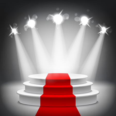 Illustration for Illuminated stage podium with red carpet for award ceremony vector illustration - Royalty Free Image