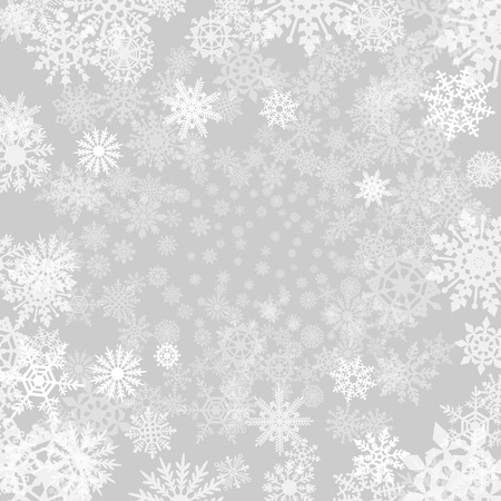 Illustration for Winter grey  background with snowflakes. - Royalty Free Image