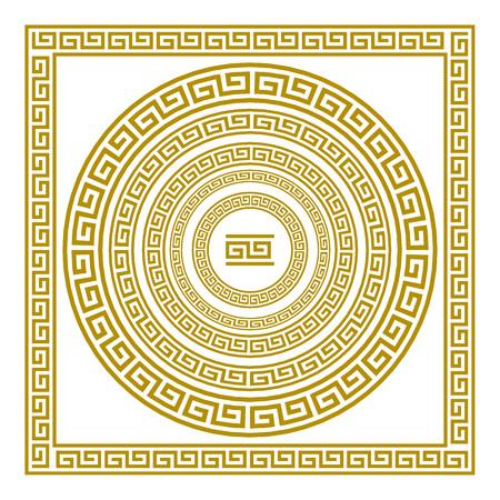Illustration for Vector set frieze with vintage golden Greek ornament Meander pattern greece - Royalty Free Image