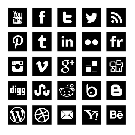 Photo for social media icon-set black squared - Royalty Free Image