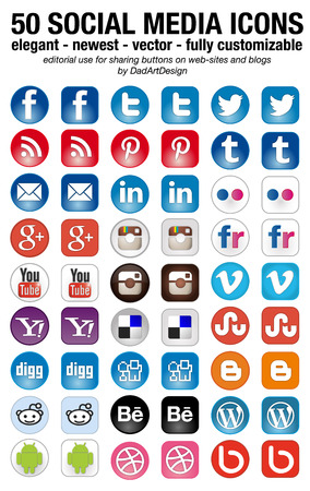 Photo for 50 new social media icons set elegant squared and rounded - Royalty Free Image