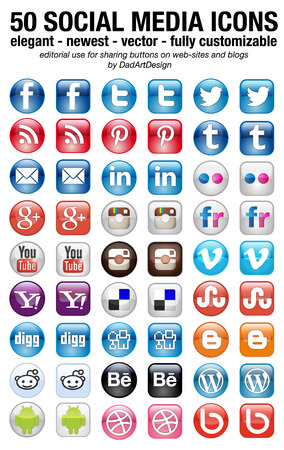 Photo pour 50 new social media icons set elegant squared and rounded - image libre de droit