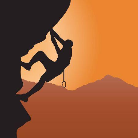 Rock climbing. Vector illustration