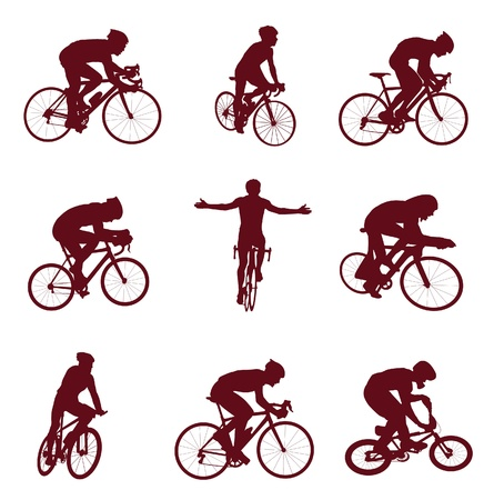 Cycling silhouettes. Vector illustration