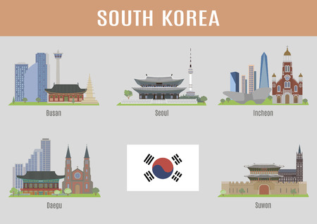 Illustration for Cities in South Korea. Major korean cities famous places - Royalty Free Image