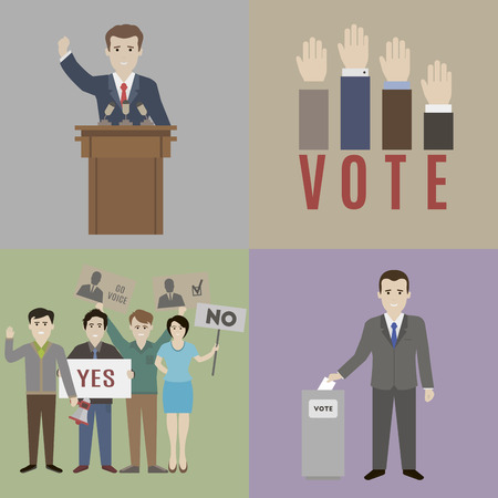 Illustration pour Elections. The candidate and the electorate. Flat style - image libre de droit