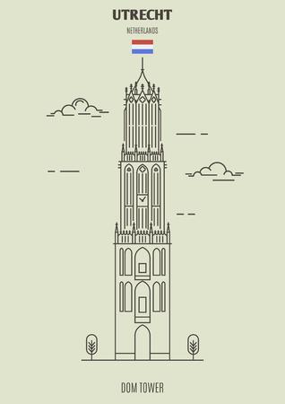 Illustration pour Dom Tower in Utrecht, Netherlands. Landmark icon in linear style - image libre de droit