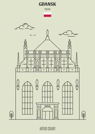 Illustration pour Artus Court in Gdansk, Poland. Landmark icon in linear style - image libre de droit