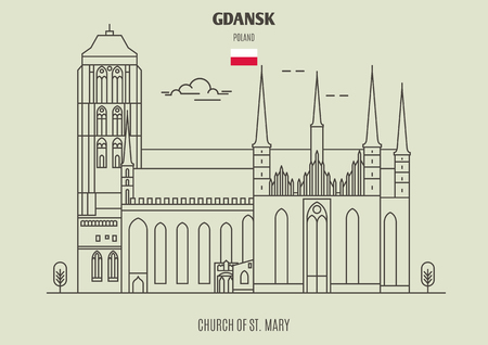 Illustration pour Church of St. Mary in Gdansk, Poland. Landmark icon in linear style - image libre de droit