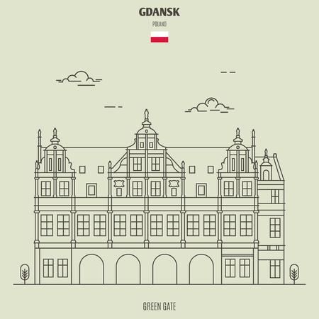 Illustration pour Green Gate in Gdansk, Poland. Landmark icon in linear style - image libre de droit