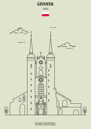 Illustration pour Oliwa Cathedral in Gdansk, Poland. Landmark icon in linear style - image libre de droit